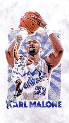 """Throwback Thursday on a Wednesday. Karl Malone, Sports Graphic Design, Sports Graphics, Utah Jazz, Larry Bird, Oklahoma City Thunder, San Antonio Spurs, New York Knicks"