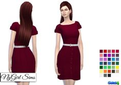 7aa55f9f8cb NY Girl Sims  White Belted Button Down Sundress • Sims 4 Downloads Sims 4 Mm