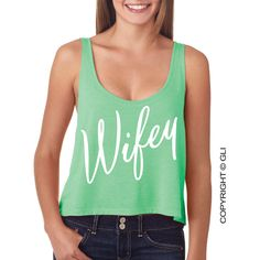 Wifey Cropped Tank Top Bella+Canvas Brand ($25) ❤ liked on Polyvore featuring tops, red, tanks, women's clothing, neon tank top, red singlet, red tank top, tank top and green top