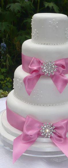 Wedding Cake Bows and Rhinestones