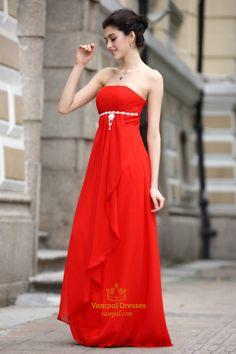 Lu Prom   Long,Red Flowy