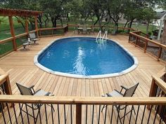 Nice deck around above ground pool