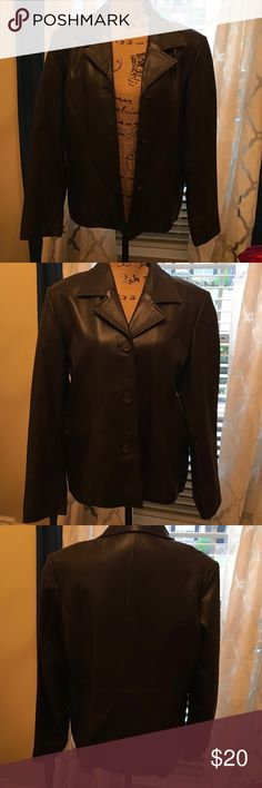 Studio Works Leather Jacket. Size Large Nice deep dark brown leather. Butter soft. Worn twice. 20 in pit to pit, 25 in from top seam to bottom Jackets & Coats Blazers