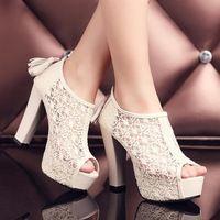 Verano zapatos de novia de encaje sexy de gasa abierta plataforma sandalias de punta ...
