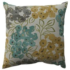 @Overstock.com - Pillow Perfect Luxury Floral Pool 16.5-inch Throw Pillow - Spruce up the look of your couch with this floral throw pillow. The delicate colors will look great against light or dark colored couches. The floral print creates a whimsical look that will add sophistication and charm to any room decor.  http://www.overstock.com/Home-Garden/Pillow-Perfect-Luxury-Floral-Pool-16.5-inch-Throw-Pillow/8104637/product.html?CID=214117 $21.03