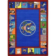 Joy Carpets Kid Essentials Symbols Of America Multi Area Rug