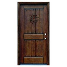36 in. x 80 in. Distressed Prehung Left-Hand Inswing Mahogany Type-2V Panel Entry Door with S-Easy and 20 Clavos-SH-904-PH-LH at The Home Depot