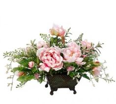Pink Peony Silk Floral Arrangement with Berries and Fern - ARWF1294