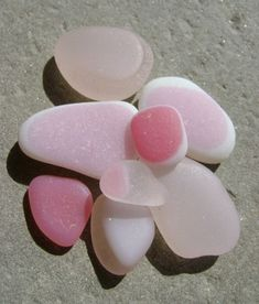 Genuine CA Beach Sea Glass ~ 8 Rare Pink Flash Glass.  Pink is in the top 3 or 4 rarest colors of seaglass to find, the others being - yellow, red, orange, and grey.