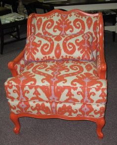 Vintage chair I brightened up last year by recovering and painting the frame. #ahia