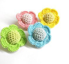 Crocheted beads - flowers, 20 mm handmade round balls cotton on wood, color