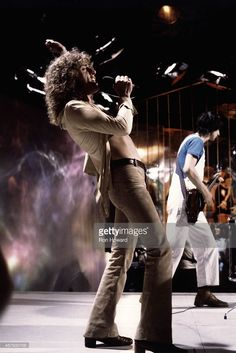 Roger Daltrey (left) and Pete Townshend (right) from English rock group The Who perform on stage on BBC TV show 'Top Of The Pops' on 26th March 1970.