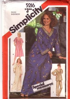 Pullover caftan, nightgown, and pajamas.  Size 6 8 10 Small