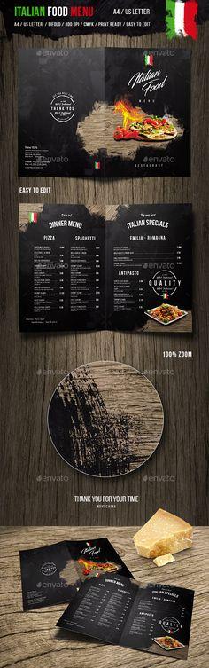 Italian Food Menu - and US Letter - Food Menus Print Templates Food Menu Template, Restaurant Menu Template, Restaurant Menu Design, Logo Restaurant, Menu Templates, Print Templates, Italian Fast Food, Italian Food Menu, Italian Recipes