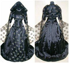 Medieval dress 10-12-14 S-M wedding black gothic witch vampire celtic renaissance costume halloween fancy lotr larp handfasting wicca tudor