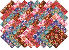 "FLOWER POWER #1 COLLECTION 40 Precut 5"" QUILTING FABRIC SQUARES"