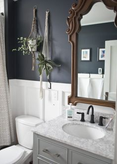 Dreaming of an extravagance or designer master bathroom? We have gathered together plenty of gorgeous master bathroom suggestions for small or large budgets, including baths, showers, sinks and basins, plus master bathroom decor tips. Bathroom Renos, Bathroom Renovations, Bathroom Furniture, Dyi Bathroom, Bathroom Vanities, Bathroom Designs, Antique Furniture, Small Bathroom Paint, Dark Gray Bathroom