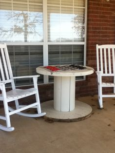 Porch table/old wire spool..:)