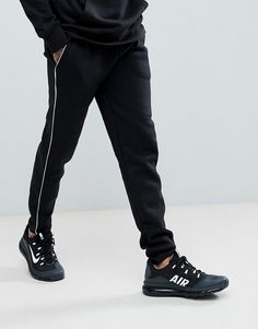 boohooMAN Super Skinny Joggers With Panel In Black - Black