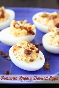 This Pimiento Cheese Deviled Eggs recipe is a fun way to put a spin on the classic dish - and they're so good!