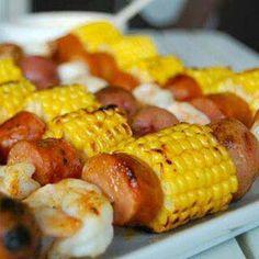 corn, sausage and shrimp Kabobs
