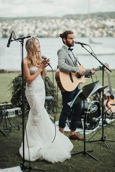 This is so dreamy. They wrote a song together and surprised their guests by performing it during their ceremony! | Image by Chris Züger Photografie