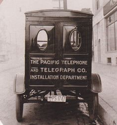 Telephone installation truck, ca. 1920s.