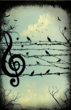 Music is a very strong element in the stories. I love this sinister and clever use of barbed wire and birds to create a melody. Perhaps birds aren't the best for Sherlock, though.