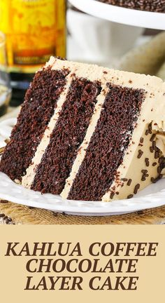 This Kahlua Coffee Chocolate Layer Cake is made with a moist chocolate Kahlua cake covered in Kahlua coffee frosting! It's seriously so good - you won't want to share! Kahlua Cake, Just Desserts, Delicious Desserts, Dessert Recipes, Cookie Desserts, Donuts, Chocolate Belga, Layer Cake Recipes, Gastronomia