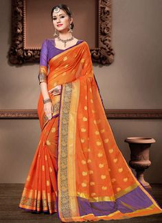 Orange Weaving Cotton Silk Classic Designer Saree