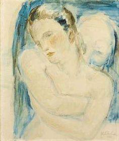 Willhelm Lehmbruck, Weibliches Brustbild und mannlicher Kopf, 1912 #Lehmbruck #painting Rodin, All Art, Sky, People, Blue, Painting, Color, Human Figures, Heaven