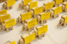 place cards on elephants :)