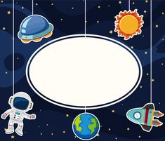 Border template with astronaut in space vector image on VectorStock Space Artwork, Wallpaper Space, Iphone Wallpaper, Space Party, Space Theme, Flower Graphic Design, Solar System Crafts, Border Templates, Cute Pastel Wallpaper