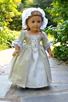 Colonial Dress with Embroidered Stomacher for American Girl Felicity by PemberleyThreads on Etsy. $48.50