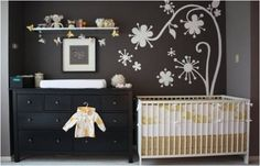 Brown being a very neutral color, it would look great in both a little boy's and a little girl's room. The white flowery wall decal gives the room a little character so that it doesn't look so plain.