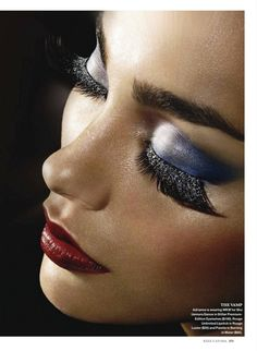 extreme fake eyelashes red lips blue eyeshadow
