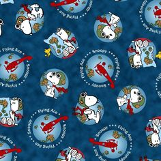Navy Snoopy Globe By the yard x 44 inch cotton fabric QT #QuiltingTreasures