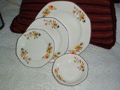 4 PC Vintage Homer Laughlin China Yellowstone Medieval Rose 3 Plates 1 Bowl   eBay