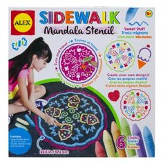 Create beautiful sidewalk art. Intricate patterns are easy to create with the Sidewalk Sweet Stuff Mandala stencil. Stencil folds for easy storage and travel.