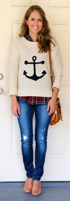 J's Everyday Fashion | A little bit preppy, a little bit nautical. Wear the sweater and the plaid top on their own this summer, then layer them together for fall.