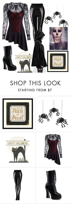 """""""halloween is coming  #halloween #treatortrick #witch #zombie #31st"""" by myselfdendi ❤ liked on Polyvore featuring Amanti Art, Meri Meri, Versace, Pleaser and Mishka"""