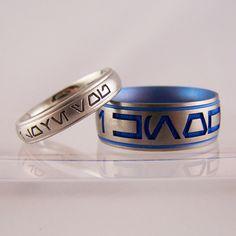'i love you' & 'i know' platinum & titanium star wars rings