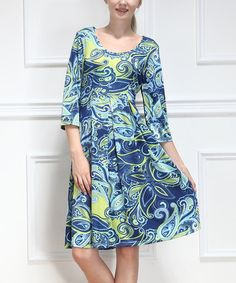 Loving this Blue & Yellow Paisley Scoop Neck Dress on #zulily! #zulilyfinds