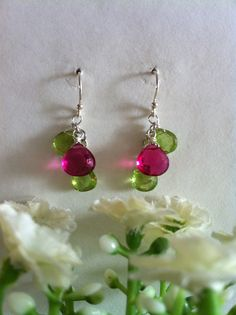 SALES  Genuine Peridot and Magenta Fushcia Pink by SwamiJewelry, $33.00