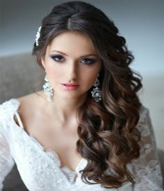 Wedding Side Swept Curly Hairstyles 2015