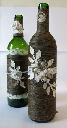 Pearl and Paper Flower Wrapped Wine Bottle by maggiemcrafts, $55.00
