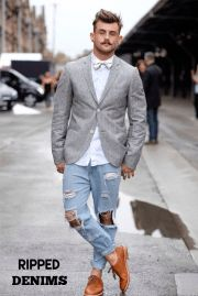 Trendy Outfit with Ripped Jeans Outfit Jeans, Hot Men, Hipster Vintage, Modern Hipster, Urban Fashion, Mens Fashion, Daily Fashion, Boy Fashion, Sydney Fashion Week