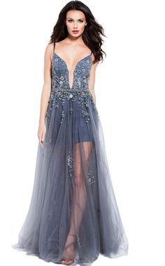 Jovani 55621 Floor length charcoal tulle prom dress with shorts underneath features spaghetti straps floral embellished bodice with plunging neck and v back. Prom Dresses Jovani, Tulle Prom Dress, Dress Up, Evening Gowns Couture, Evening Dresses, Organza, Blue Wedding Dresses, Wedding Gowns, Designer Prom Dresses