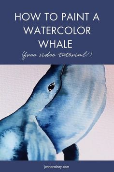 How to paint a watercolor whale tutorial. A lot of people commented that they wanted to see more animal tutorials, I'm kicking it off with this beautiful humpback whale. In the video, you'll learn how to sketch the while and then drop color with wet-on-wet and wet-on-dry techniques and some white gouache for some added detail. Learn Watercolor Painting, Watercolor Whale, Watercolor Art Lessons, Easy Watercolor, Watercolor Design, Watercolor Animals, Watercolor Flowers Tutorial, Step By Step Watercolor, Watercolour Tutorials