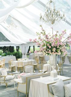 pink, gold, silver and white beautiful centerpiece and tent! #wedding #love!